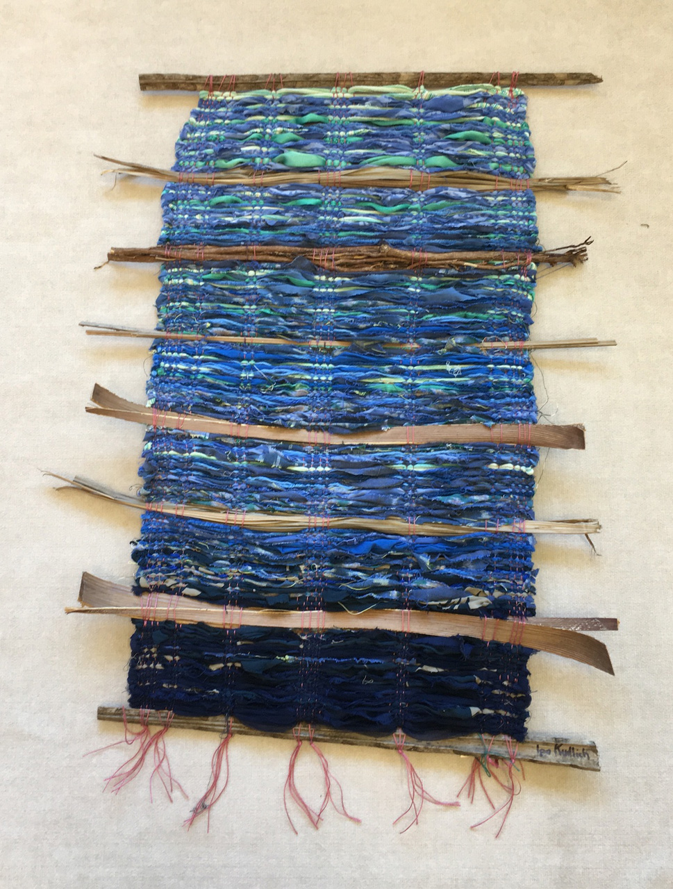 "Ipo Kudlich weaving titled ""Blue Shimmer"""
