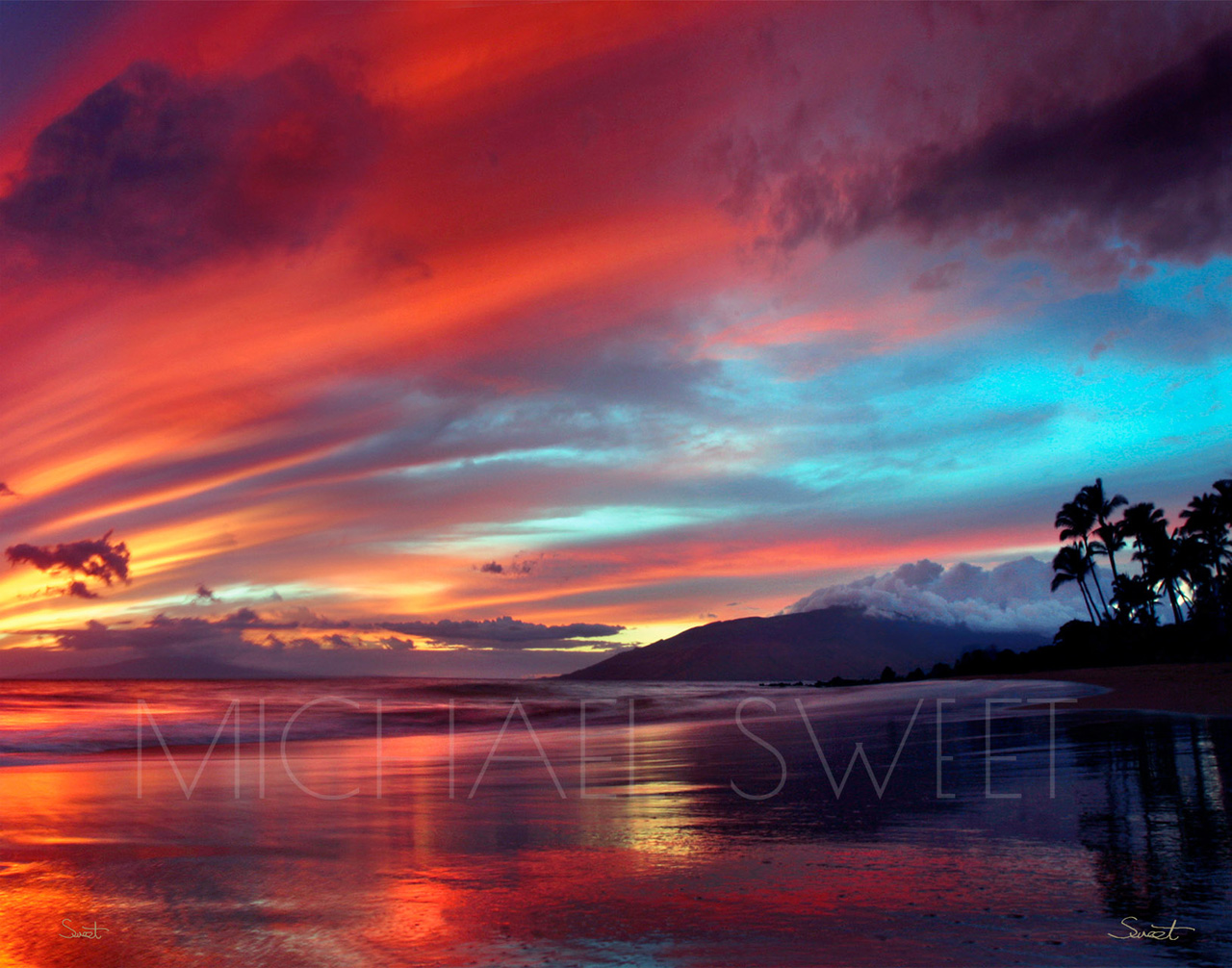 Photograph of sunset at a beach in Maui