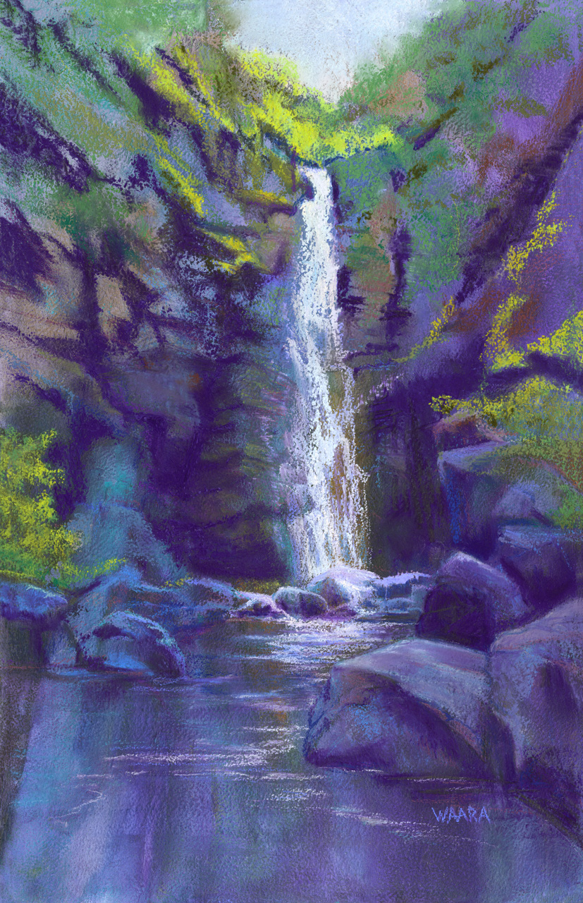 Soft pastel painting of Alelele Falls in Maui Hawaii