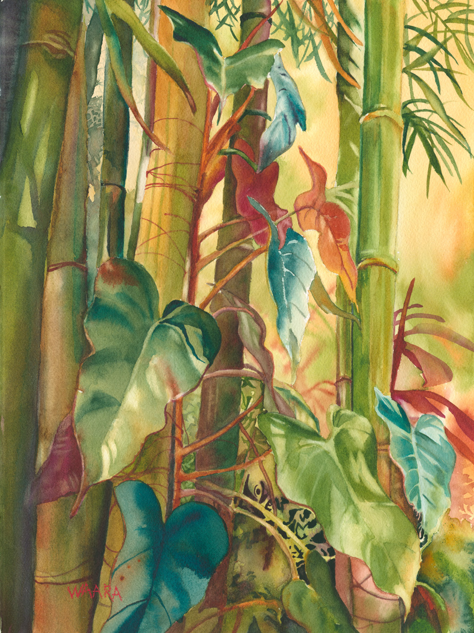 Watercolor painting of heart shaped vines growing among bamboo