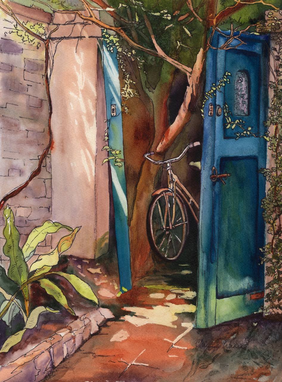 Watercolor painting of a bicycle propped up in an alley behind a gate