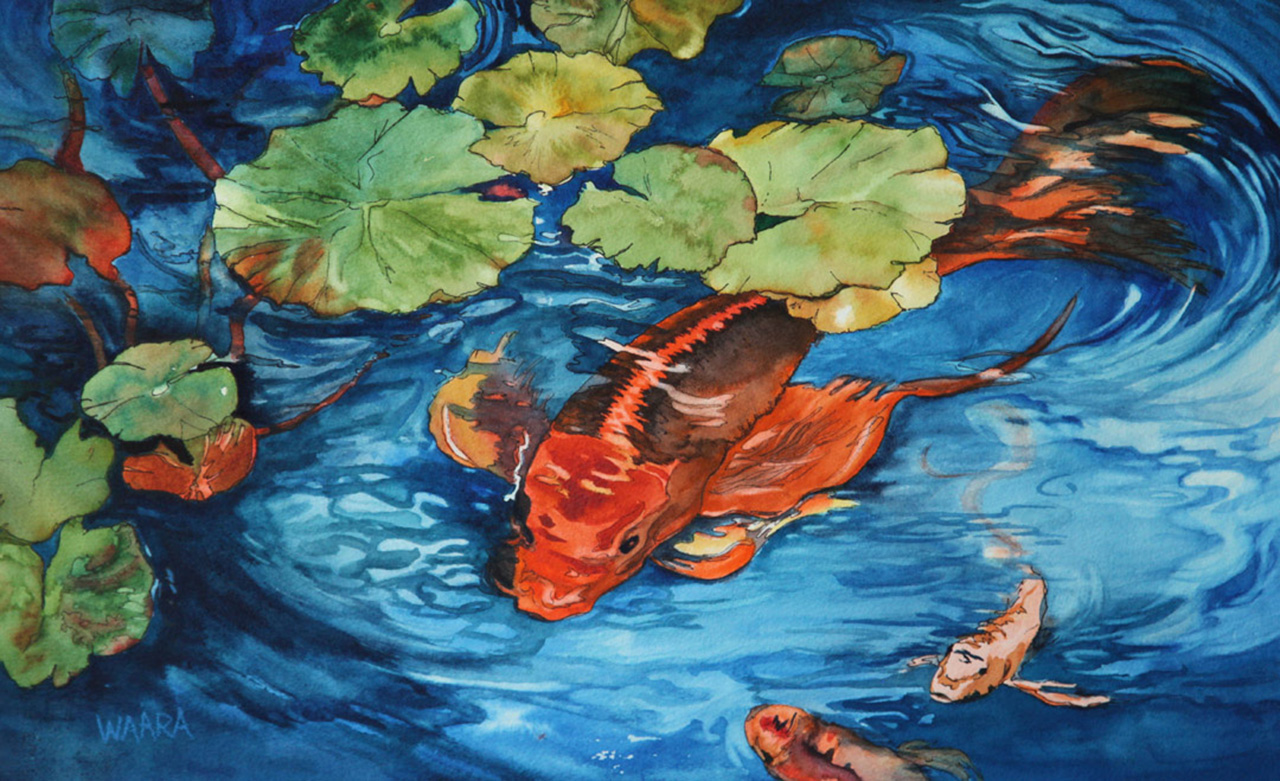 Watercolor painting of koi fish swimming under lily pads
