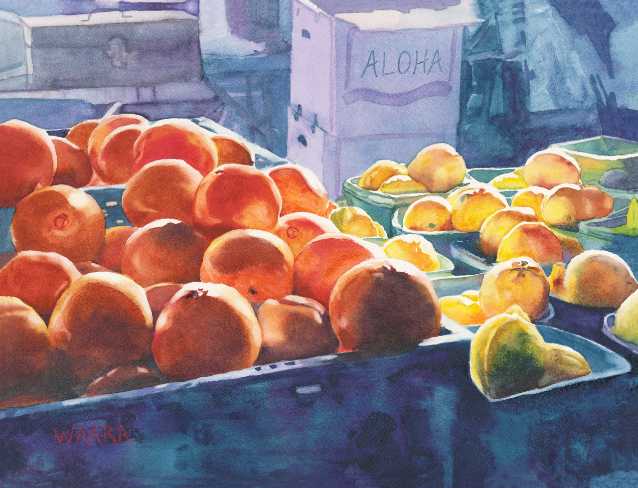 Watercolor painting of lemons and oranges in crates at a farmers' market