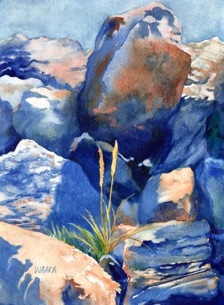 Watercolor painting of a few blades of grass growing among rocks on Haleakala on Maui