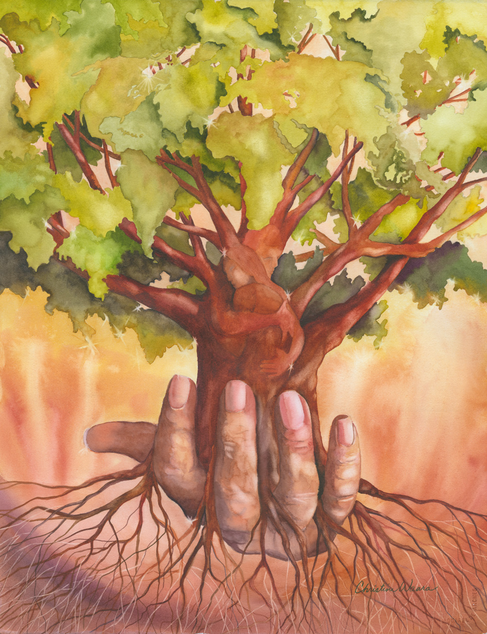 Watercolor painting of a hand holding a tree with hidden images within it