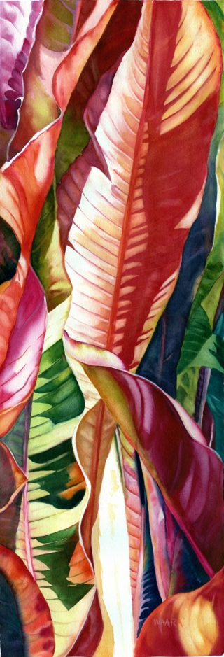 Watercolor painting of colorful banana leaves