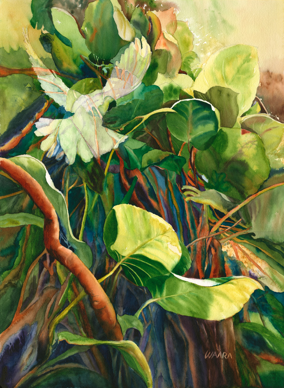 Watercolor painting of a ghost dove flying into light behind green vines