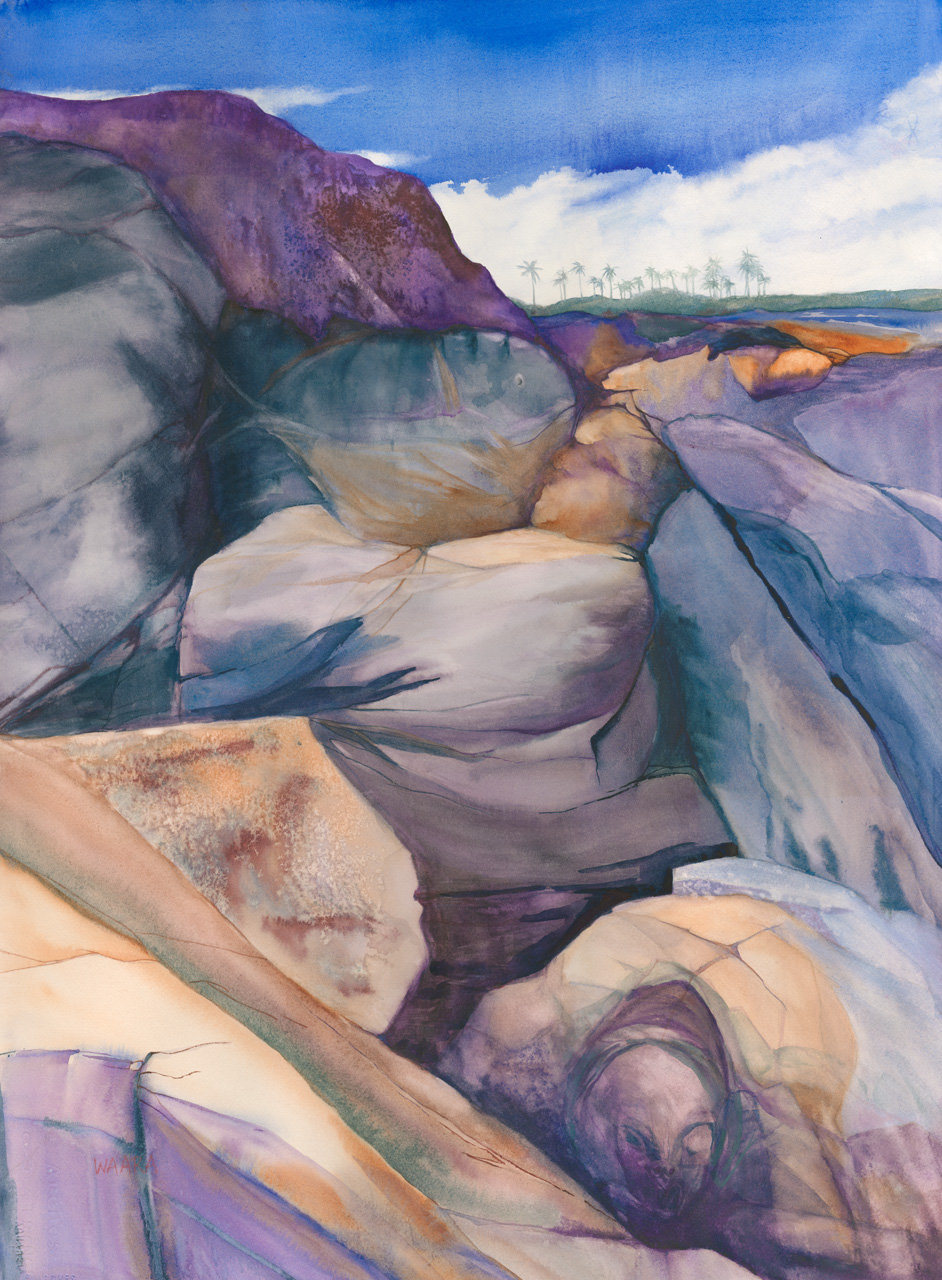 Watercolor painting of rocks with hidden images in Kapalua Maui