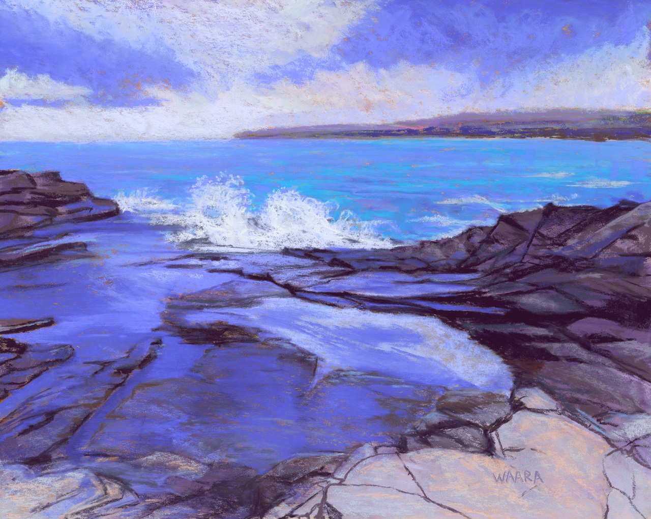 Soft pastel painting of waves breaking over rocks at Kapalua Point in Maui Hawaii