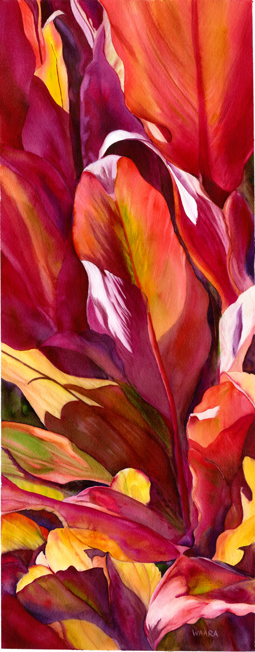 Watercolor painting of red ti leaves