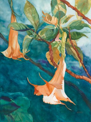 Watercolor painting of trumpet flowers blooming on a tree branch