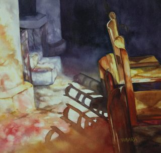 Watercolor painting of stain glass reflections on chairs in a church