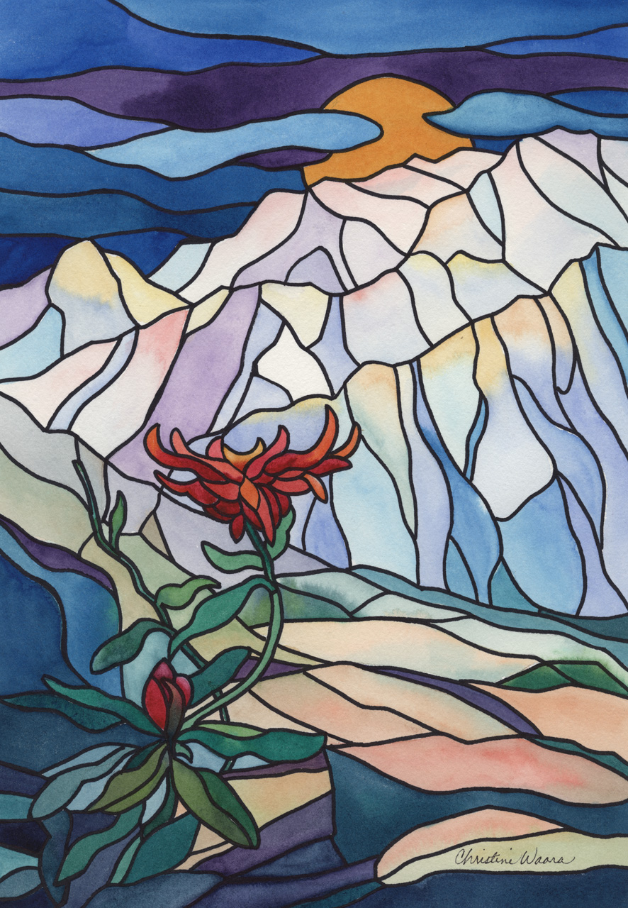 Watercolor painting of plant growing out of rocks in a stained glass stylized rendition