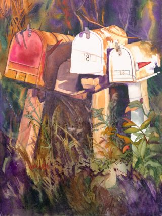 Watercolor painting of upcountry Maui mailboxes