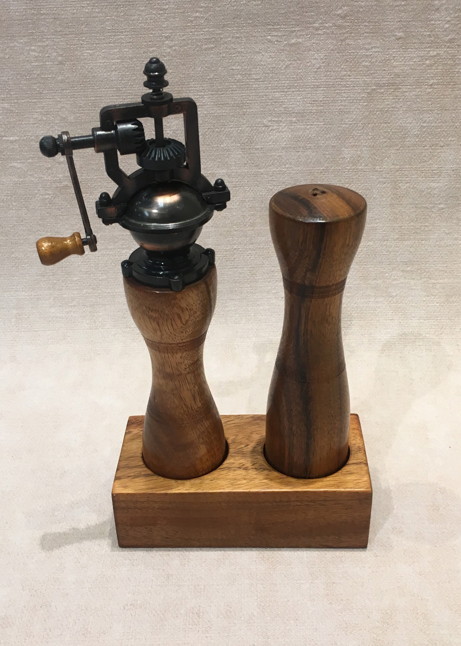 Koa salt shaker and pepper mill set in wood holder