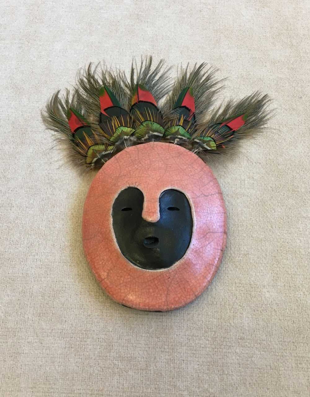 Hawaiian guardian wall hanging mask. Kahu single mask Large by Zeke Israel with feathers. Pink