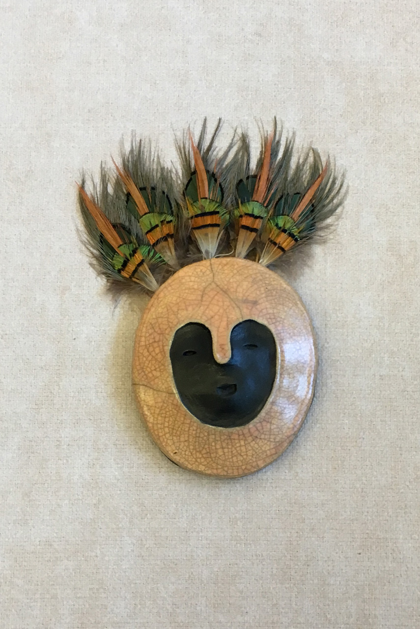 Hawaiian guardian wall hanging mask. Kahu single mask Large by Zeke Israel with feathers. Peach
