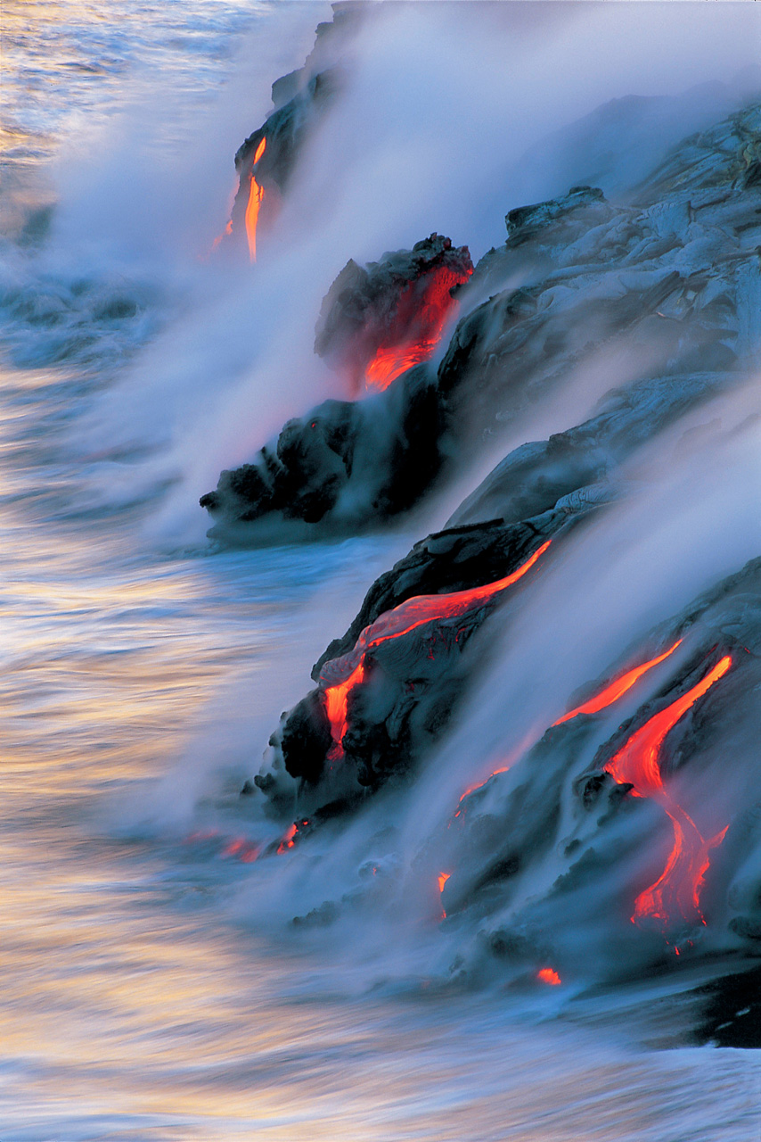 """Ocean Dancing"" by Brad Lewis lava flowing into ocean on Hawaii"