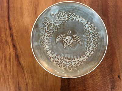 6 in Taupe Sgraffito Bowl by Curt Stevens