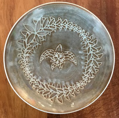 Sgraffito Bowl by Curt Stevens - Taupe Honu Example - CURT85B