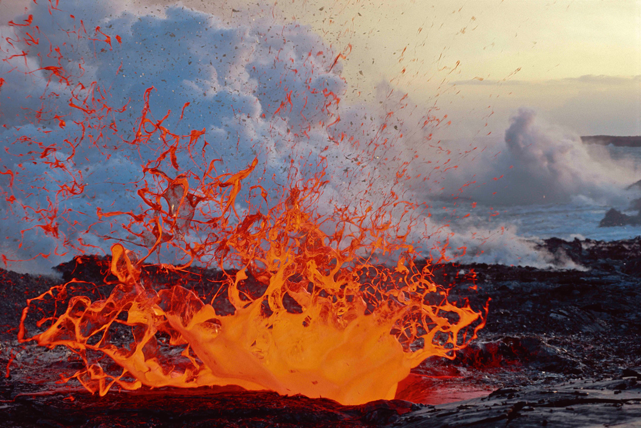 Lava erupts in a huge spray from the Kilauea Volcano on the Big Island of Hawaii. Kilauea is the most active volcano on Earth.