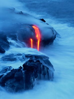 """Conception"" by Brad Lewis lava flowing into ocean"