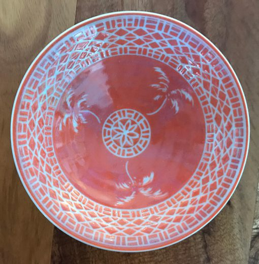 Sgraffito Bowl by Curt Stevens - Coral Palm Example - CURT85B
