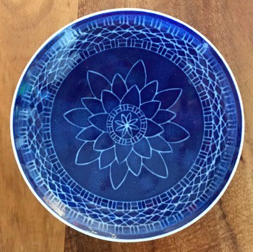 Sgraffito Bowl by Curt Stevens - Blue Lotus Example - CURT85B