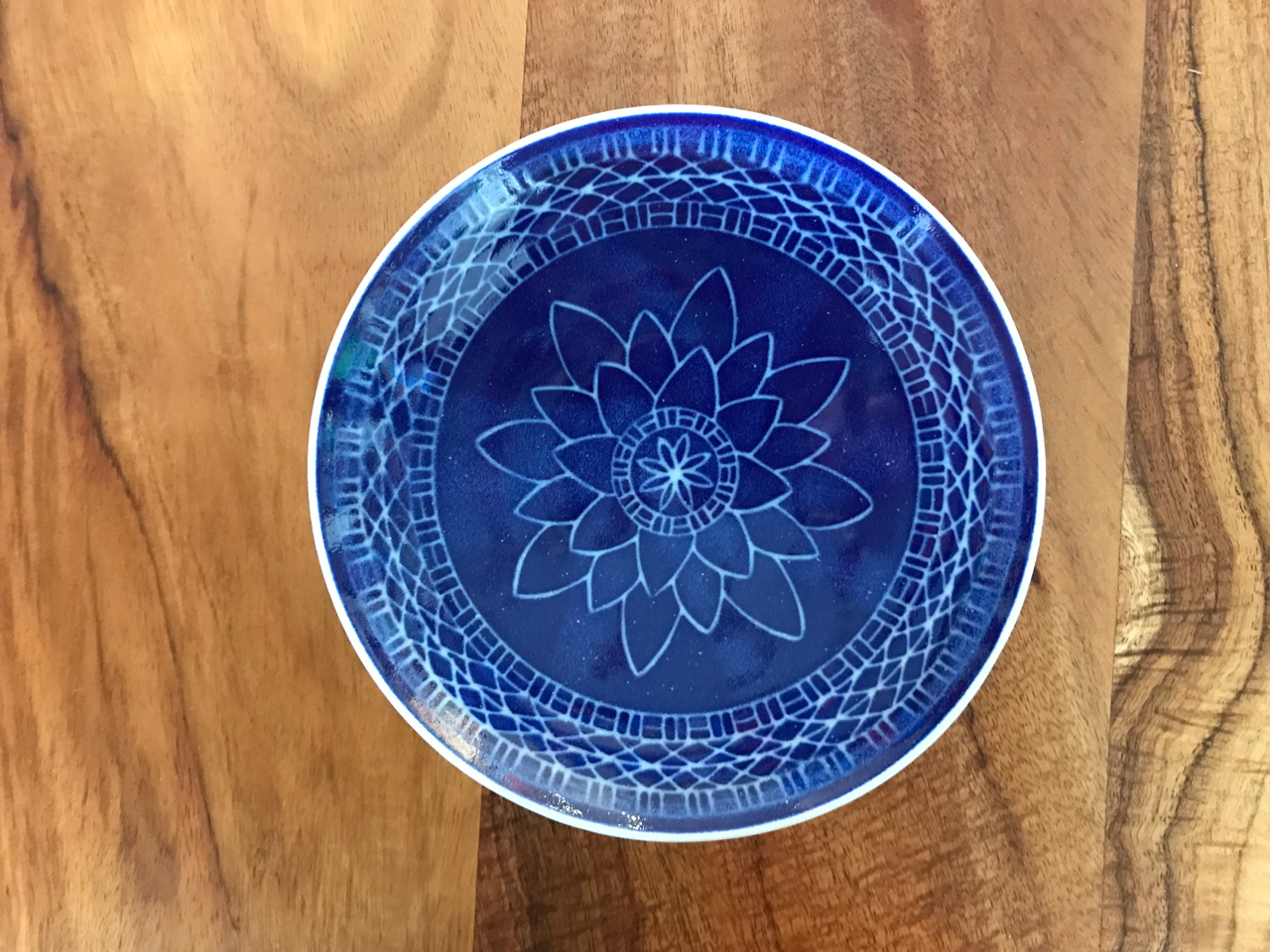6 in Blue Sgraffito Bowl by Curt Stevens