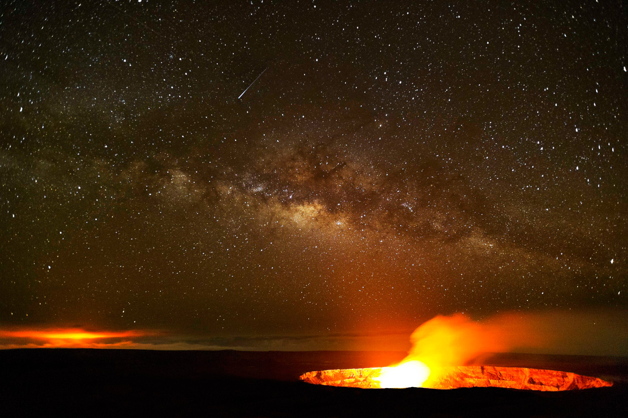"""Galaxias"" by Brad Lewis volcnic flare out of crater"