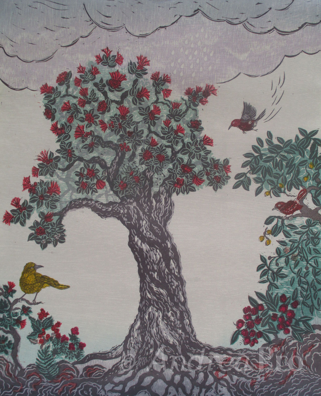 Laka Gathers the Forest by Andrea Pro print of tree with flowers and birds