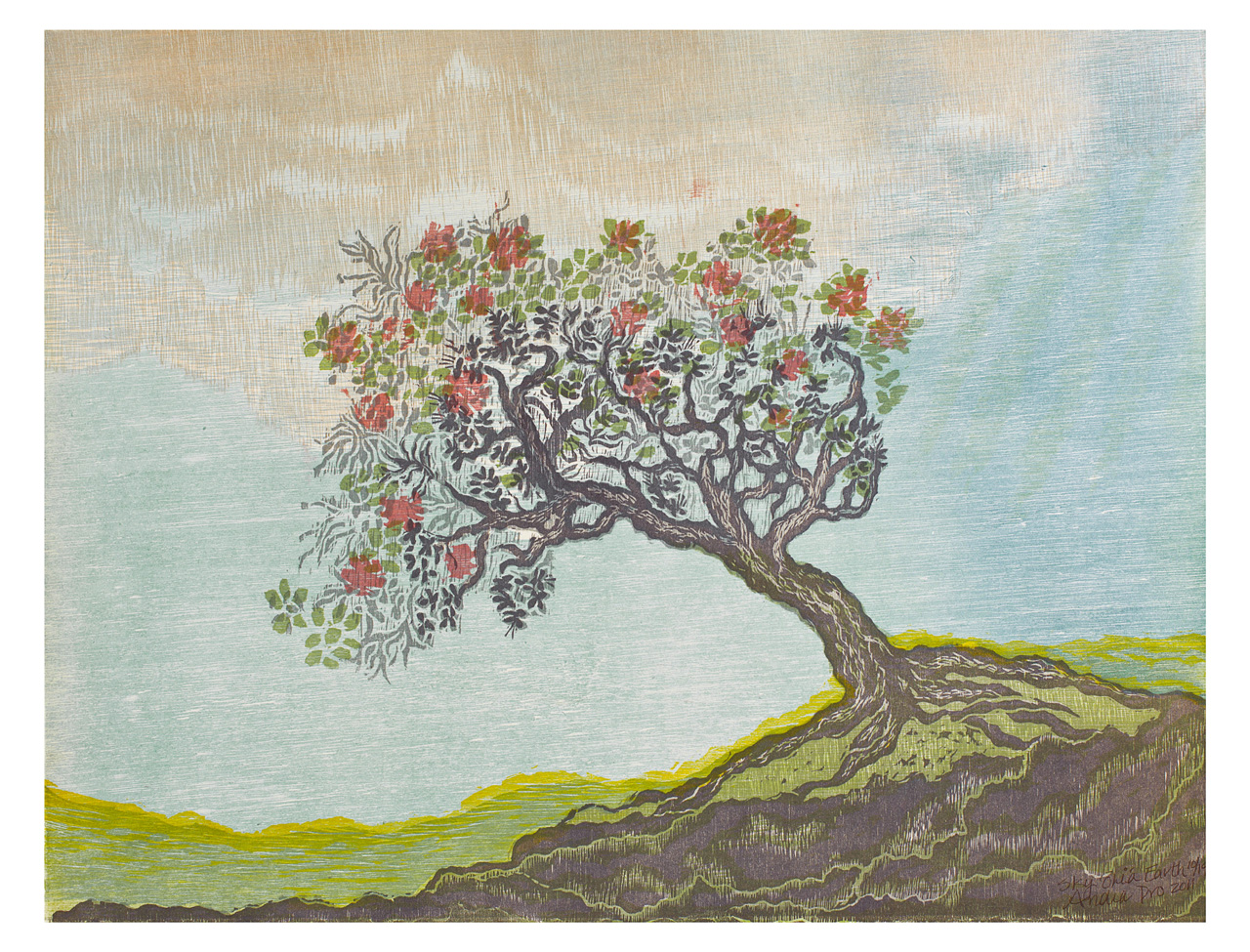 Sky Ohia Earth by Andrea Pro hand pulled print of tree
