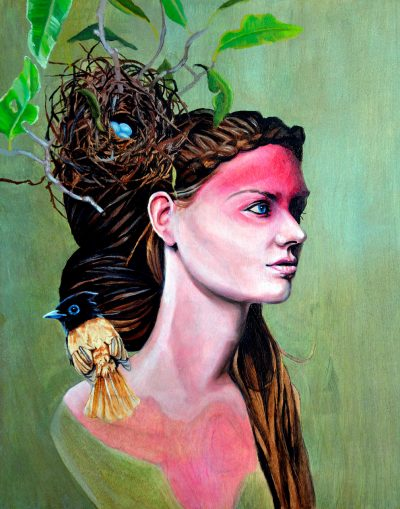 Bust of woman with nest in her hair and bird on her shoulder