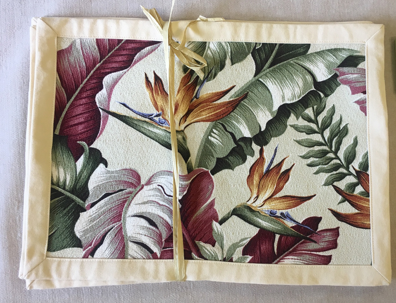 Placemat set by Bonnie Warren in bird of paradise design