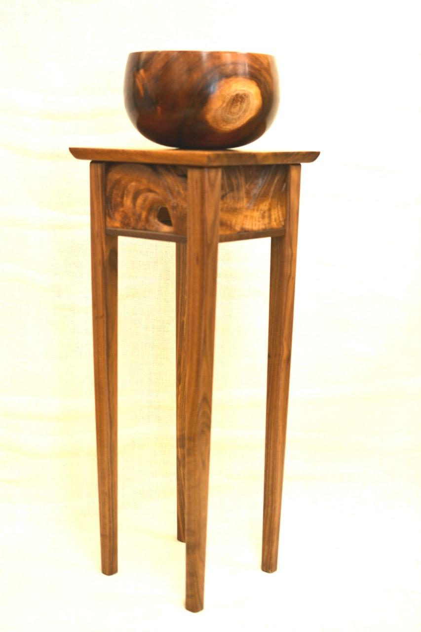 Monkeypod and Walnut Pedestal Table by Brian Kawal
