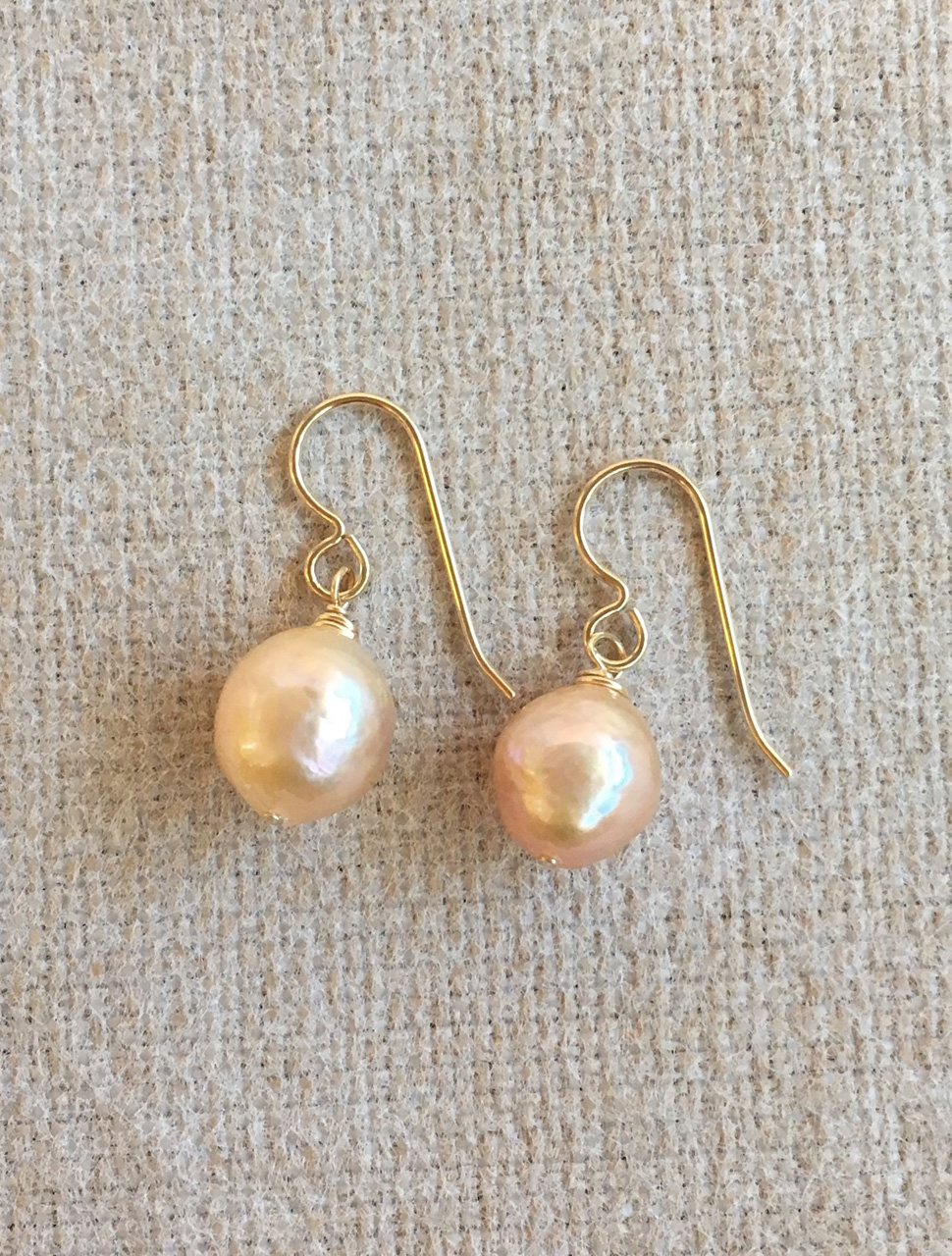 Gold Filled Cream Freshwater Pearl Earrings by Christi Cafferata