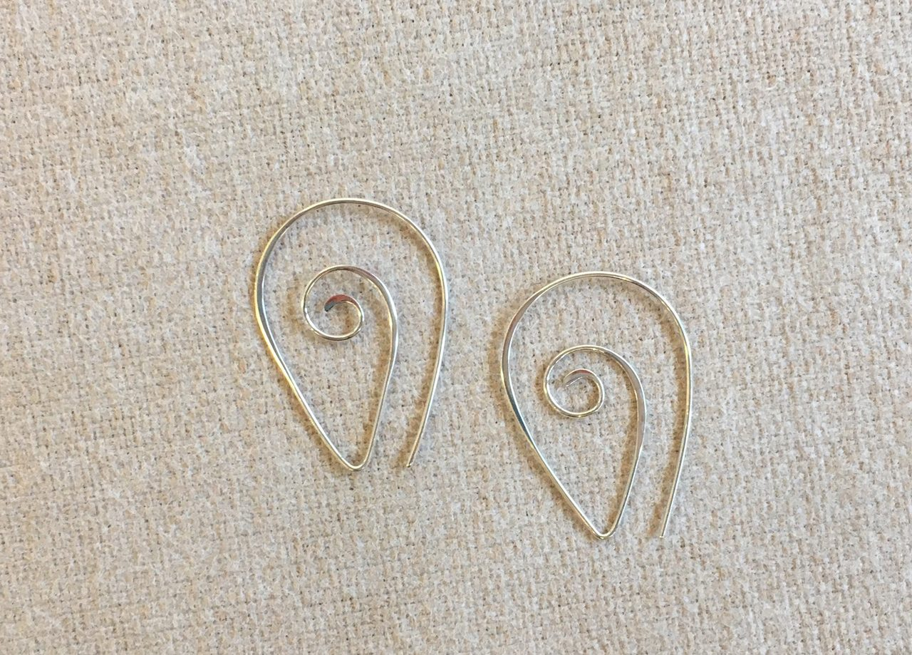 Silver Pointy Spiral Earring by Christi Cafferata