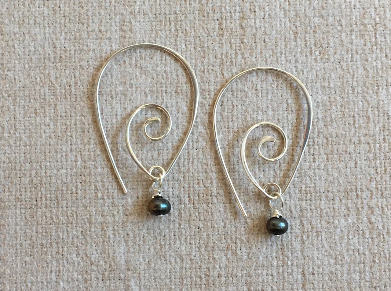 Silver Pointy Spiral Earring With Black Freshwater Pearl by Christi Cafferata