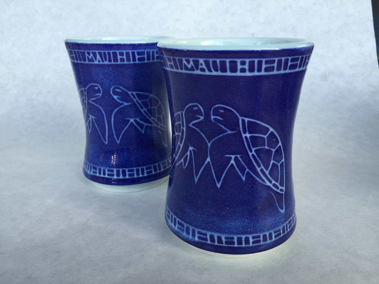Pair of Navy Blue Honu Cups by Curt Stevens