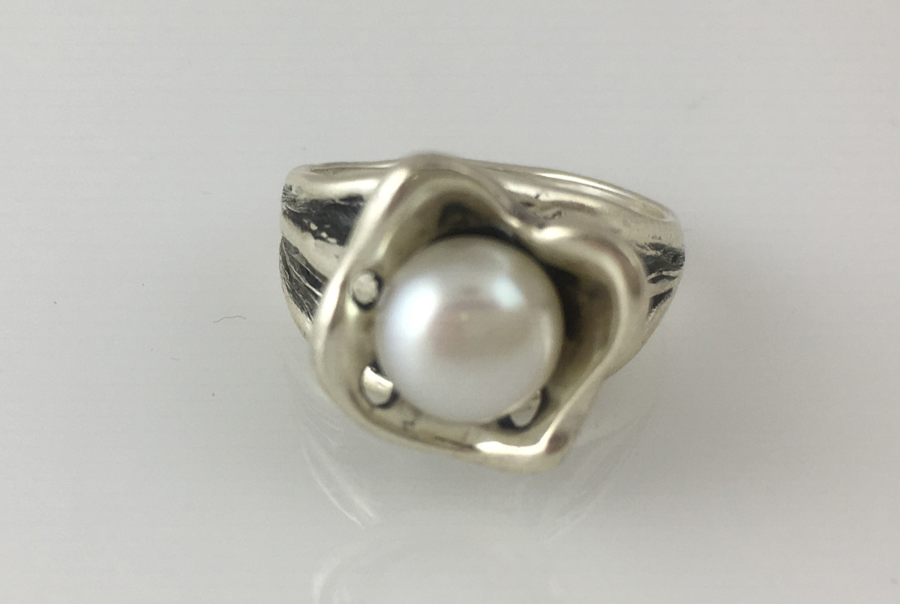 Silver Free Form Pearl Ring by Dian Anderson