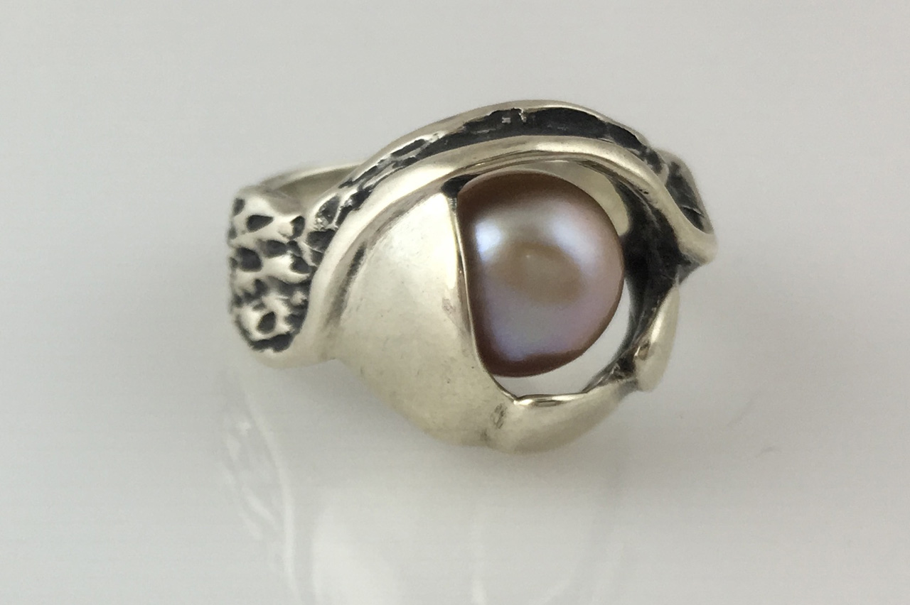 Silver Free Form Gray Pearl Ring by Dian Anderson