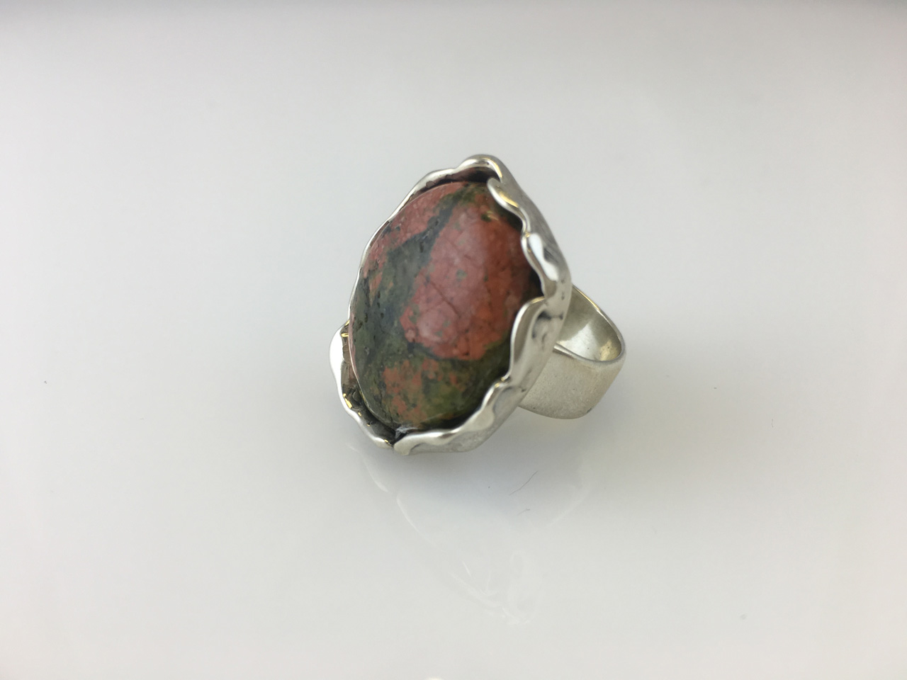Unakite Wide-band ring by Dian Anderson