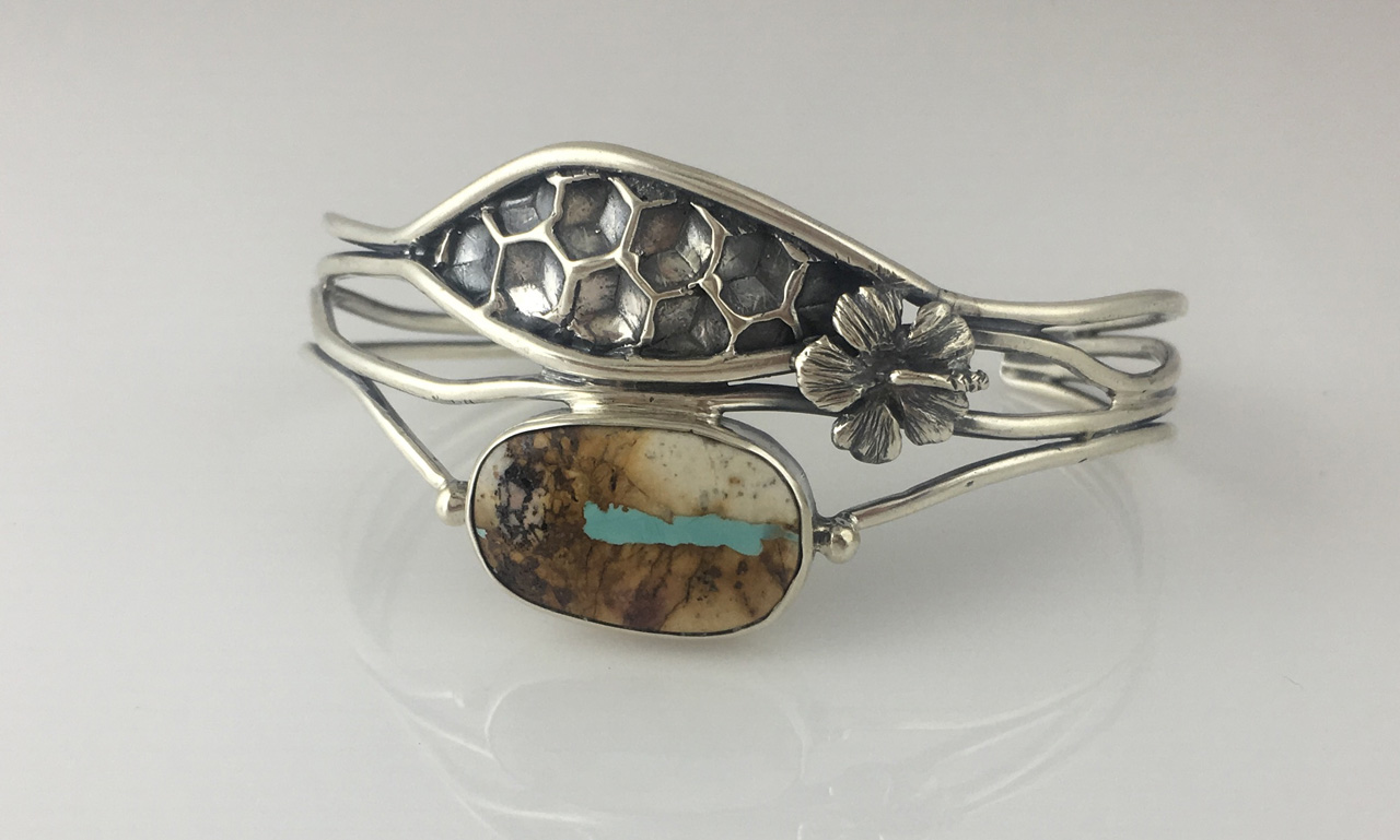 Silver Turquoise Beehive Bracelet by Dian Anderson