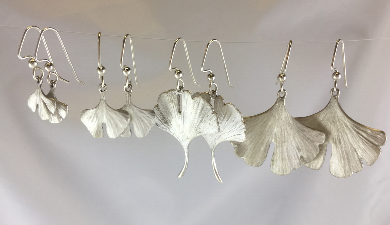 Silver Gingko Leaf Earring Group by Dian Anderson