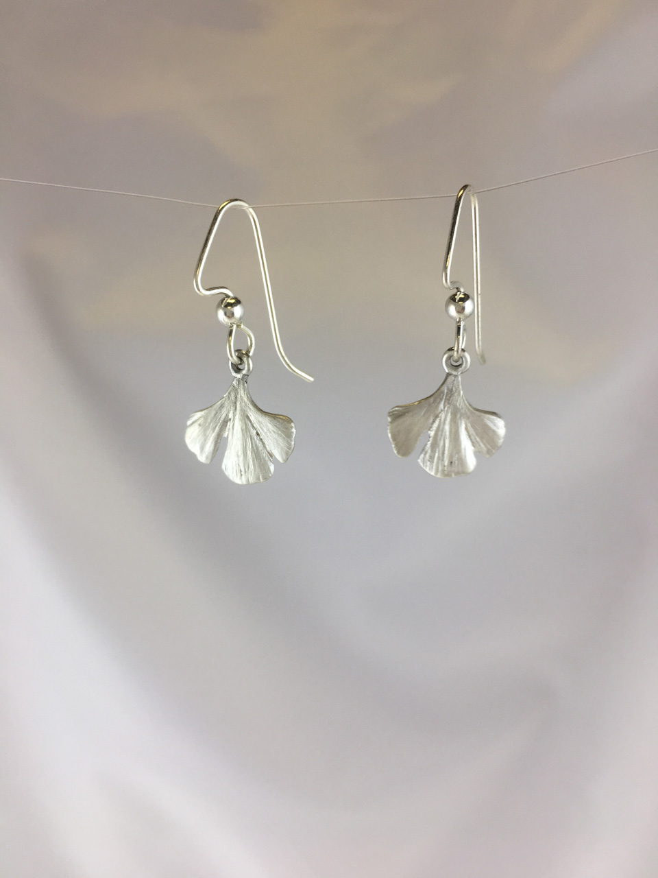 Silver Small Gingko Leaf Earrings by Dian Anderson
