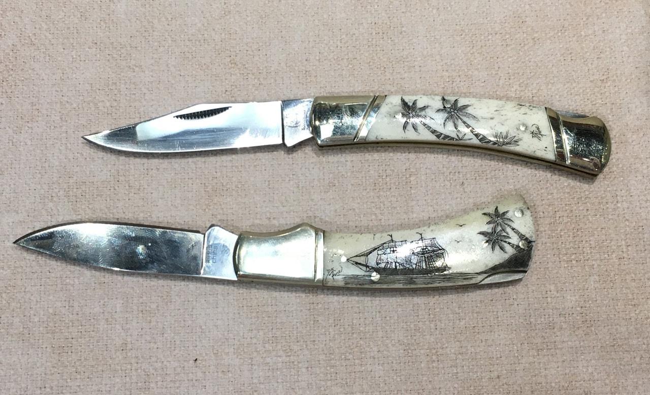 Single Blade Large Derek Fine Scrimshaw Knives