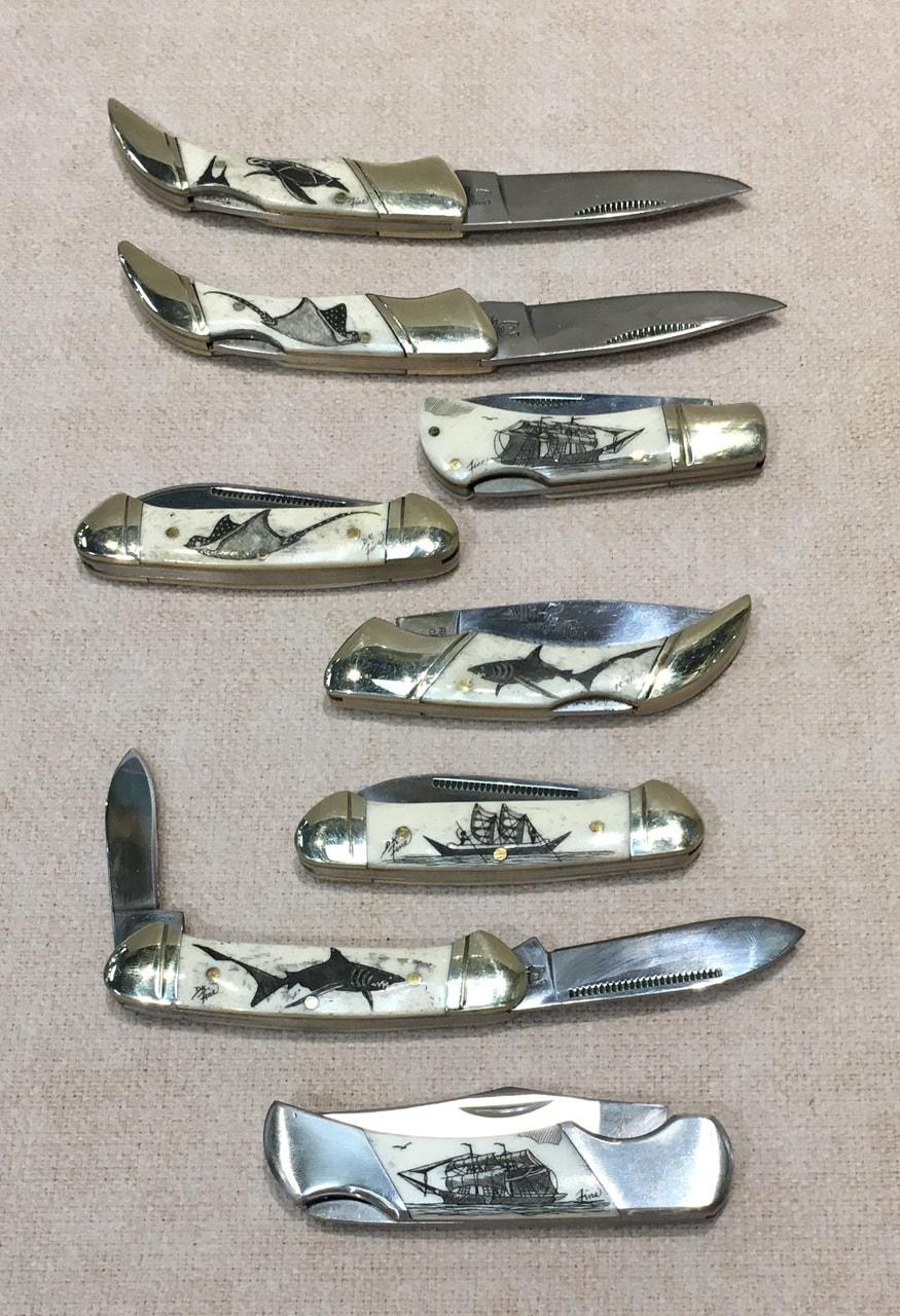 Collection of Scrimshaw Pocket Knives by Derek Fine