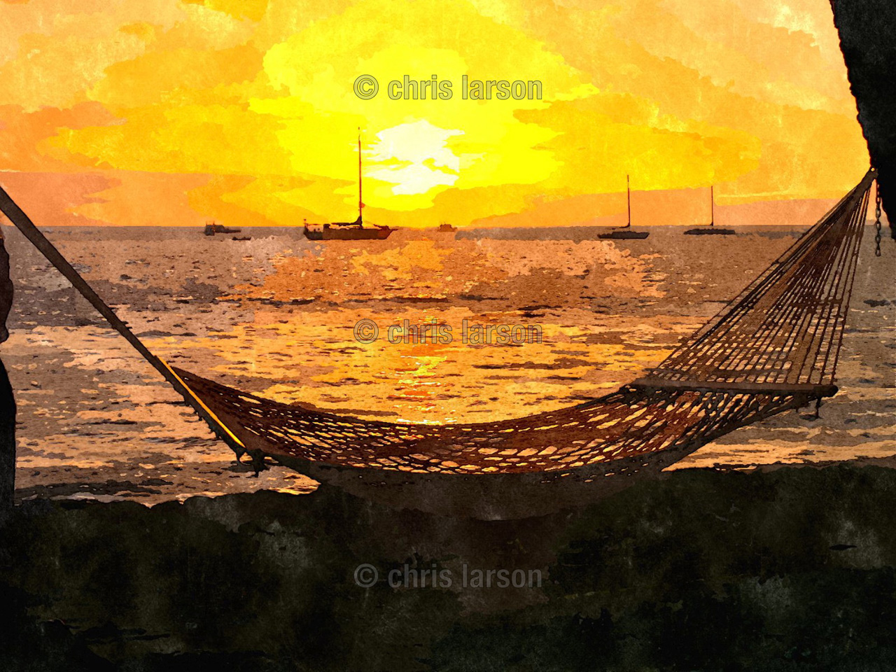 Hammock Hideaway by Chris Larson - Hammock and sunset