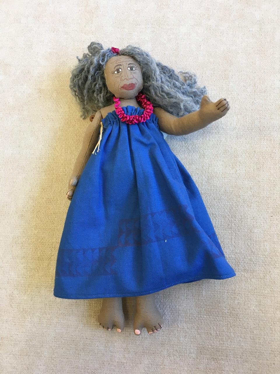 Hula Doll Large Blue Kupuna by Charlene Asato