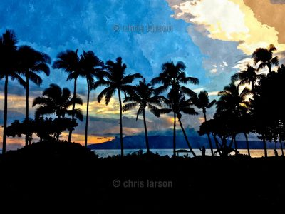 Maui Blue by Chris Larson - Palm trees against blue sky